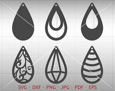 Tear Drop SVG, Pendant SVG, Vector DXF, Leather Earring Jewelry Laser Cut Template Commercial Use