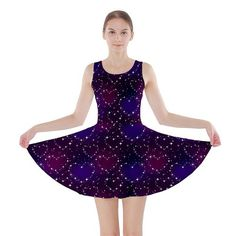 A Fun Night Sky Skater Dress. Pretty galaxy print with sparkly stars and hearts design. Black and purple tones. Christmas gift ideas for tween girls.