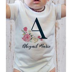 Floral Monogrammed Initial Baby Onesie by 904 Custom Baby Girl Onsies, Baby Shirts, Baby Boys, Monogram Onesies, Baby Monogram, Custom Baby Gifts, Baby Crafts, Twin Nurseries, Creations