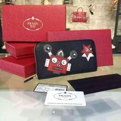 2016 A/W Prada Robot Zip-Around Continental Wallet 1ML506 in Saffiano Leather