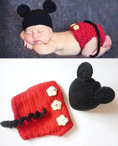 Baby Boy Newborn Crochet Mickey Mouse Outfit by dreammadestudio, $20.00