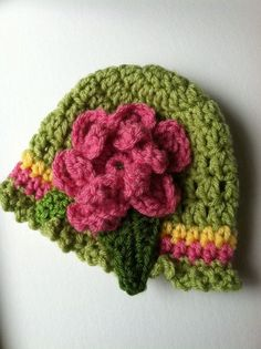 Crochet Baby Hats Crochet Baby Hat with Flower Apple Green by LakeviewCottageK...