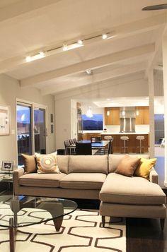 Tiburon Residence, contemporary living room, open floor plan, dining, kitchen