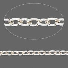 Chain, sterling silver, 3x2mm oval link. Sold per pkg of 5 feet.