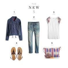 Cool combo – Jeans, tee, jacket, flats and aztec bag – complete your Urban Boho Look!
