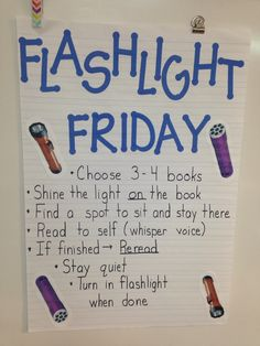 Is silent reading time a struggle in your classroom? Here are some unique and fun strategies to use in your classroom to improve your students' independent and silent reading time. Flashlight Friday makes silent reading fun and exciting for students. Kindergarten Reading, Teaching Reading, Teaching Ideas, Reading Activities, Reading Lessons, Kindergarten Anchor Charts, Guided Reading Groups, Kindergarten Lessons, Library Lessons