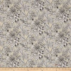 Encyclopedia Terrestria Digital Prints Toile Natural from @fabricdotcom  Designed by Suite 1500 for Andover, this digitally printed fabric features beautiful flowers and fall foliage. Perfect for quilting, apparel and home decor accents. Colors include black, cream, white and shades of grey.