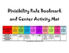 Here's a nice bookmark for divisibility rules. Also includes an activity page.