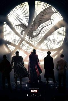 Dr. Strange 11/04/16.  Ben and all his characters who share the same trade mark mysterious back to the camera pose. Plus the coat collar turn up with those cheek bones adding to the mysterious look. Left to right: ummm idk sorry; Kahn; Doctor Strange; Smaug above; Sherlock; and I am not sure about the last one. All Ben nonetheless. Great pic