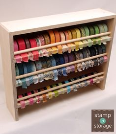 If you're tired of rummaging through a jar or drawer to find your washi tape, the Stamp-n-Storage Washi Tape Holder will provide you with nearly four feet of shelf space. You can keep your washi tape collection right at your fingertips. Your colorful tape will be beautifully displayed and easy to access!