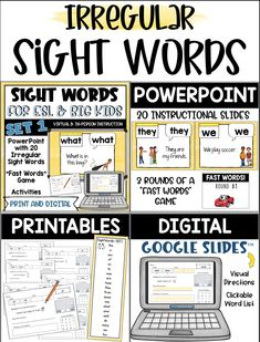 Beginning Sight Words for Older Students. Give your beginning ESL students, and struggling students, age appropriate materials that will help build their knowledge and fluency with irregular sight words. Printable and digital resources make this perfect for virtual distance learning, or face to face instruction! Perfect for the ESL, SPED and gen ed classroom grades 3-6. English Language Learners, Play Soccer, Sight Words, Teaching English, Esl, Big Kids, Distance, Students, Knowledge