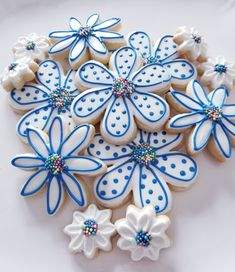 Flower sugar cookies in blue and white.