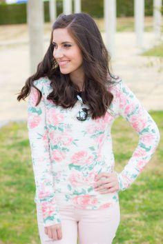look con un jersey de flores en rosa #kissmylook