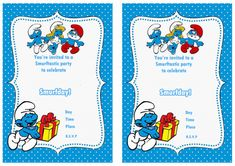 Smurfs FREE Printable Birthday Invitations Click image below to enlarge and print 1st Birthday Invitations Boy, Free Printable Birthday Invitations, Baby 1st Birthday, Party Invitations, Hollywood Birthday Parties, 4th Birthday Parties, Birthday Ideas, Care Bear Party, Baby Party