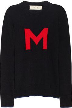 Marni|M-intarsia wool-blend sweater|NET-A-PORTER.COM