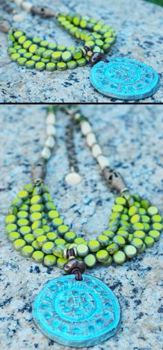 Borneo: Designer Multi-Strand Lime Green Glass and Turquoise Medallion Necklace $250