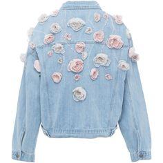 Floral Denim Jacket | Moda Operandi ($1,050) ❤ liked on Polyvore featuring outerwear, jackets, floral denim jacket, flower print jacket, floral jean jackets, blue jean jacket and blue denim jacket