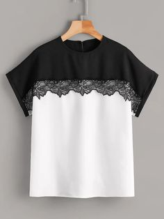 Contrast lace two tone blouse shein. Elisa Cavaletti, Sewing Blouses, Mode Chic, Cute Blouses, T Shirts For Women, Clothes For Women, Refashion, Blouse Designs, African Fashion