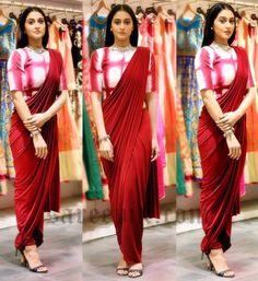 dhoti saree, maroon saree, regina cassandra in saree% Saree Draping Styles, Drape Sarees, Saree Styles, Organza Saree, Saree Blouse Patterns, Saree Blouse Designs, Sari Blouse, Dhoti Sari, Indian Dresses