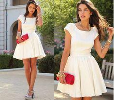 Vestido branco retrô combinado sandália de bolinha preta [2]