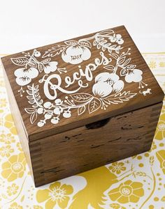 rifle paper co heirloom wood recipe box