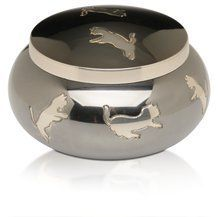"""""""Leaping Cats"""" kitty urn in brass with shiny black color and leaping cat design encircling the urn       Famous Words of Inspiration...""""Give a man health and a course to steer, and he'll never stop to trouble about whether he's happy or... more details available at https://perfect-gifts.bestselleroutlets.com/gifts-for-pets/for-cats/product-review-for-leaping-cats-urn-with-playful-cat-design-medium/"""