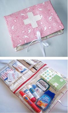 Sewing Bags Project Sew Mama Sew tutorial mini kit with zipper pouches - An awesome roundup of 20 DIY First Aid kits that you can make yourself and stash anywhere! Perfect to have on hand this summer. Sew Mama Sew, Sewing Hacks, Sewing Tutorials, Sewing Crafts, Bag Tutorials, Sewing Patterns Free, Free Sewing, Sewing Kits, Purse Patterns