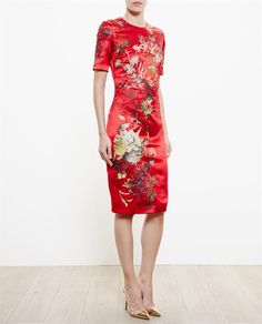 ALICE ARCHER Babette Embroidered Silk Dress red