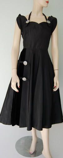 1949 New Look Satin Taffeta Dress with Rhinestones and a Touch of Velvet    Oh my goodness, I love it so much.