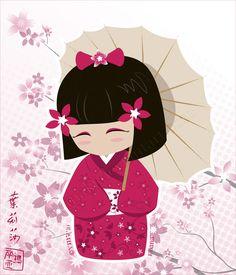 Sakura Kokeshi Doll by tiranaki on deviantART