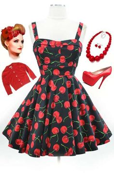 """Just restocked! Black Cherry Print """"Pull Up A Cherry"""" Summer Sun Dress.. find them for $42 + FREE U.S. s/h at Le Bomb Shop here: http://lebombshop.net/search?type=product&q=pull+up+a+cherry&search-button.x=0&search-button.y=0"""