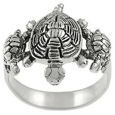 Princess Kylie 925 Sterling Silver Three Turtles Designer Ring