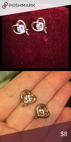 Rose Gold and CZ Heart Studs Stunning CZ with rose gold colored hearts. Jewelry Earrings
