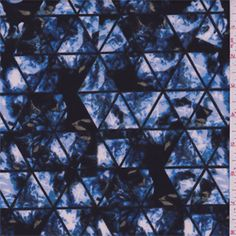 Black, powder blue, cadet blue, olive and white mottled print with a black triangular design. A soft, spun polyester blend fabric with a soft feel. This light/medium weight double knit has widthwise stretch and recovery.Compare to $12.00/yd