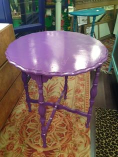 purple antique side table $190 - Chicago http://furnishly.com/catalog/product/view/id/4953/s/purple-antique-side-table/