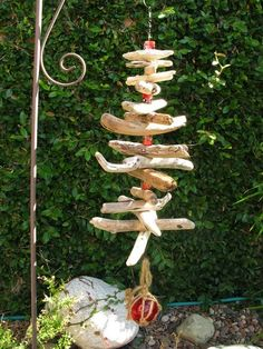 Driftwood hanger with seaglass