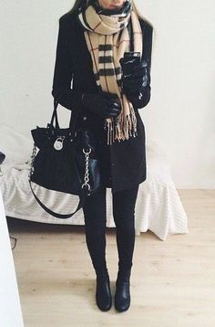 all black everyhing winter outfit with plaid scarf