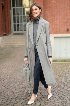 Easy does it with shades of gray and polished pinstripes.  #MFW