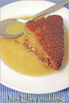 pudding - a classic South African dessert South African Cake: Jan Ellis Pudding (think tres leches cake-so yummy!)South African Cake: Jan Ellis Pudding (think tres leches cake-so yummy! South African Desserts, South African Dishes, South African Recipes, Pudding Desserts, Pudding Recipes, Dessert Recipes, Hot Desserts, Dessert Ideas, Flan