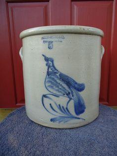 Haxstun Ottman, Fort Edward, NY Stoneware 5 Gallon Crock with Bird on a Branch