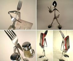 Metal tableware art is a unique way to explore the art of decor while enjoying creative recycling ideas Metal Crafts, Diy Arts And Crafts, Hand Crafts, Diy Tableware, Silverware Art, Diy Home Decor Projects, Art Projects, Recycled Crafts, Household Items