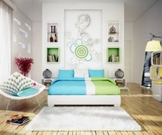 Awesome Colorful Modern Bedroom You Can Try - The Urban Interior Bedroom Wall Designs, Modern Bedroom Design, Bedroom Decor, Bedroom Ideas, Modern Bedrooms, Modern Room Decor, Home Decor, Woman Bedroom, Minimalist Furniture