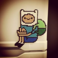 Finn - Adventure Time hama beads by cainis - Pattern: http://www.pinterest.com/pin/374291419004662805/