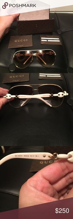 Authentic Gucci Marina White Chain 🕶. This is a Re-Posh. I bought these and when I tried them on there to large for my face. There super cute. I wish they fit. NWT, comes with glasses, case, certificate of authenticity card. Gucci Accessories Glasses