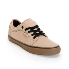 Grab the Vans Chukka Low tan and gum canvas skate shoes for a year-round skate shoe that is sure to become an instant classic. These guys low profile skate shoes feature a tan canvas upper, vulcanized gum rubber outsole with black foxing for better board control and flexibility, Vans gum waffle tread bottom sole in for superior grip, padded collar and tongue, custom red and black plaid inner lining, drop-in PU midsole and Vans UltaCush HD red and black plaid insole for superior impact…