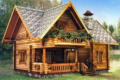 Cabaña pequeña tipo log cabin, de dos pisos