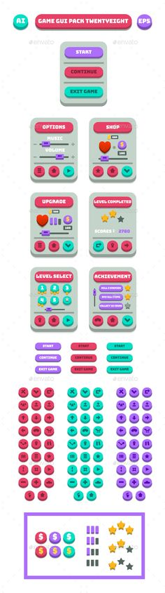 Game GUI Pack TwentyEight - User Interfaces #Game Assets Download here: https://graphicriver.net/item/game-gui-pack-twentyeight/16938626?ref=alena994
