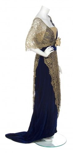 1910  Maison Worth Cobalt Blue Silk Velvet and Gold Lace, Lot Number:46, Starting Bid:$500, Auctioneer:Leslie Hindman Auctioneers, Auction:A Maison Worth Cobalt Blue Silk Velvet and Gold Lace