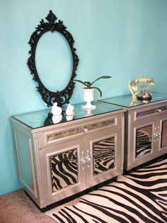HOLLYWOOD REGENCY Silvered MIRROR Vintage Nightstands End Tables via Etsy.