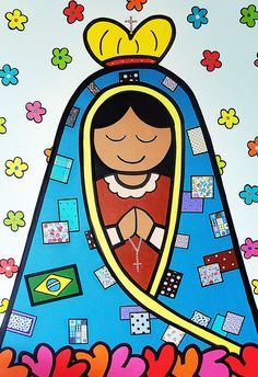 Mama Mary, Holy Mary, Madonna And Child, Blessed Virgin Mary, Arte Popular, Blessed Mother, Mother Mary, Religious Art, Colorful Pictures